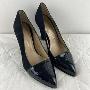 Marian Womens Black Patent Suede Heels Size 5 S5